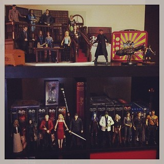 Whedon bookcase (well, the top half anyway). My friend says one day I will run a @jossWhedon library #jossisboss #toys #dreamjob