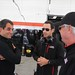 Juan Pablo Montoya, Helio Castroneves, and Rick Mears chat prior to testing at Sebring