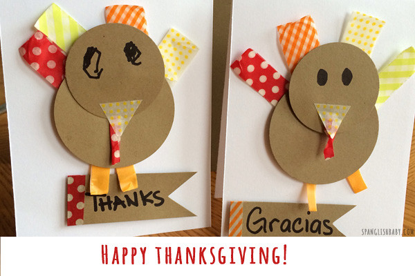 happy thanksgivingDIY THANKSGIVING CARD CRAFT -- SpanglishBaby.com