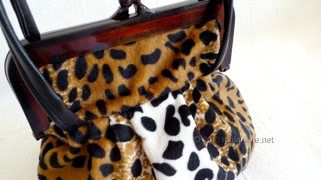 velvet handbag with leopard pattern purse frame