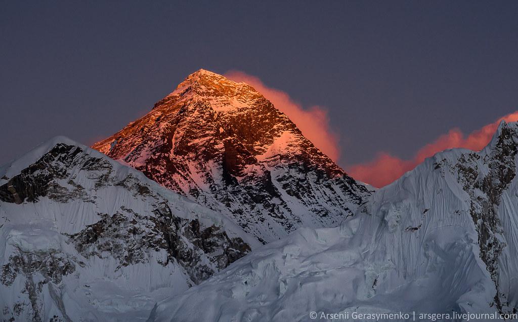 Burning Everest Mt. Peak (8848 m)