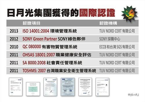 日月光集團獲得的國際認證(地球公民基金會製作、提供)