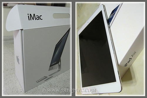 Newly delivered Apple toys for 2014, a 21.5 inch iMac and an iPad Air