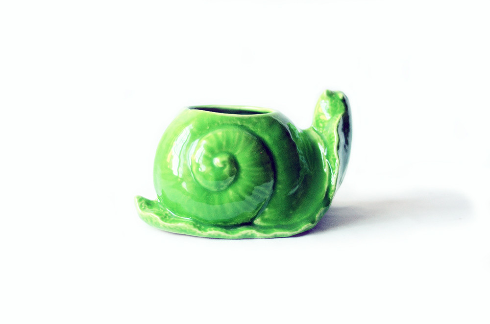Vintage Green Snail Flower Pot