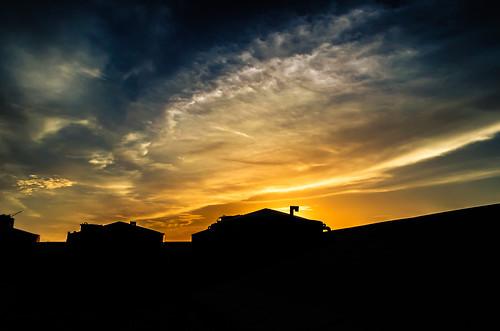 city roof sunset shadow sky cloud west building silhouette yellow contrast dark landscape nikon scenery wide clarity malaysia handheld moment petalingjaya selangor cfs iium d5100