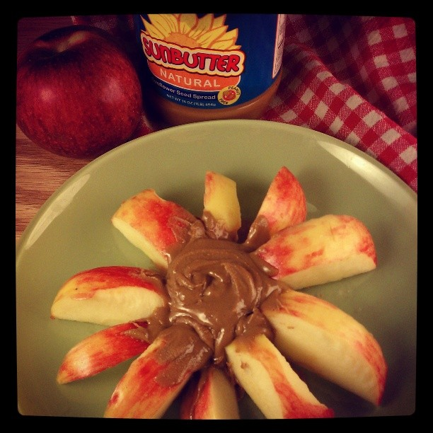 Little Z's second favorite bedtime snack - apples and sunflower seed butter. #fb #allergyfree