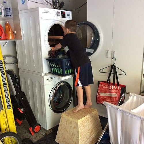 I gave the husband a chore list the other day. I got this picture sent to me later that day. Child labor. I like that he is using a pylo box to access the dryer. I heart my @boschhomeus washer and dryer! #childlabor #crossfitkid
