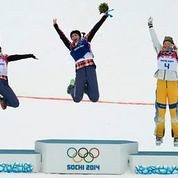 The podium winners in Sochi jump for joy!