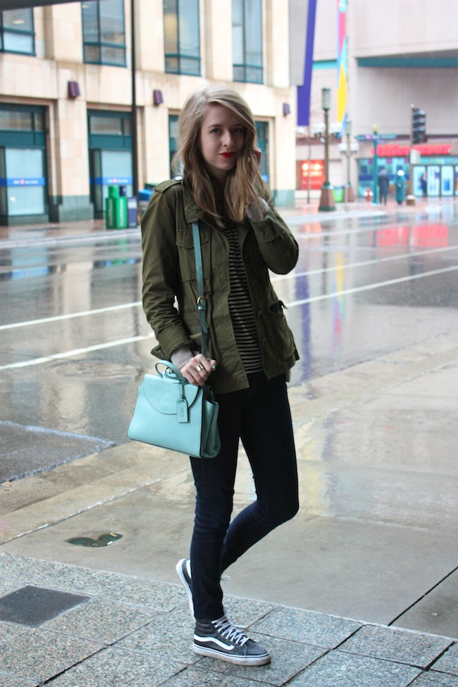 chelsea+lane+truelane+zipped+blog+minneapolis+fashion+style+blogger+madewell+utility+jacket+gap+stripe+tee+kate+spade+saturday+mini+a+satchel+steel+blue+vans+leather+sk8+hi7