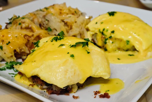 Eggs Benedict Over Crab Cakes With Hashbrowns