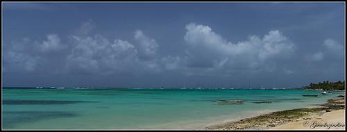 eau bleu nuage plage guadeloupe lagon corail saintfrançois pointeàpitre