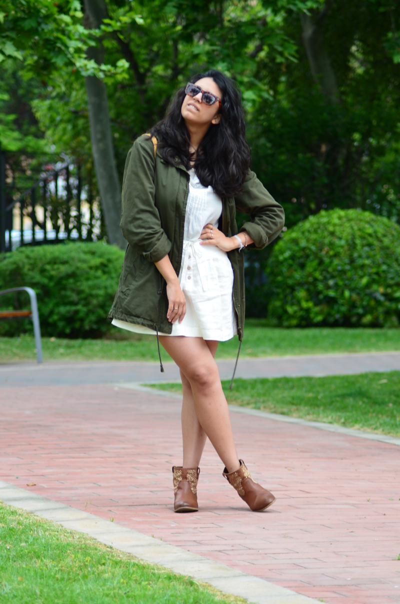florenciablog green parka zara stradivarius look beig bolso hippie mochila gandia fashion style (5)