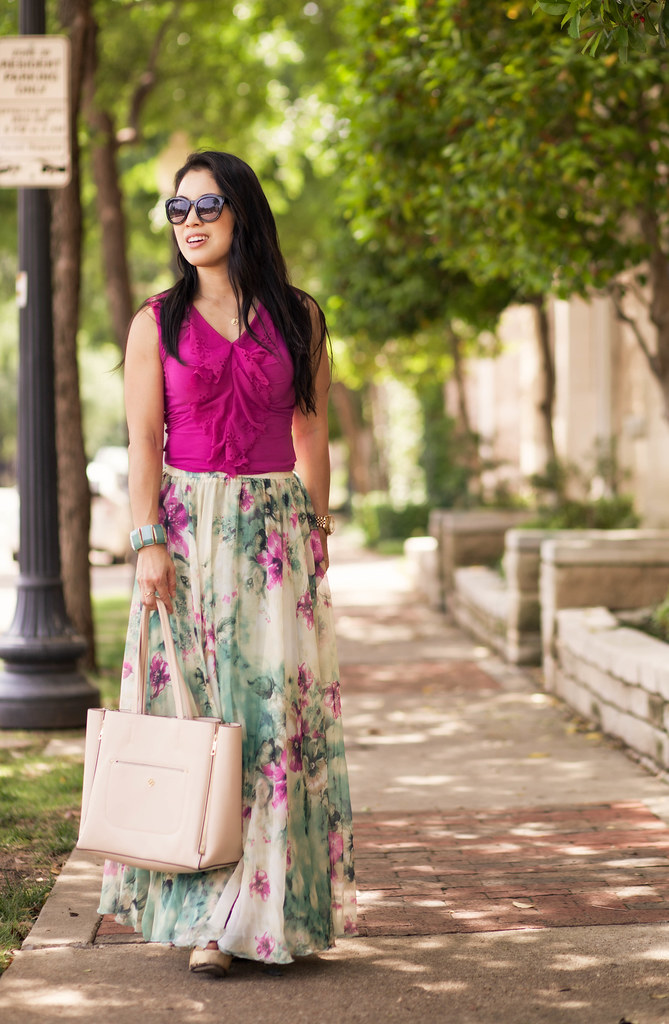 cute & little blog | petite fashion | radiant orchid eyelet ruffle top, chicwish chiffon floral maxi skirt | nude tote | spring summer outfit