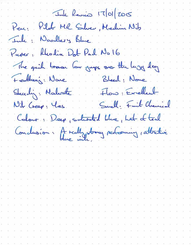Noodler's Blue Ink Review - Rhodia Dot Pad