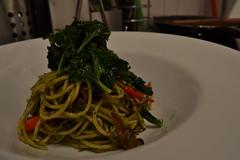 Pesto Pasta with sautéed Kale