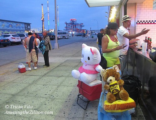Hello Kitty and Honey Bear at Nathan's Famous in Coney Island