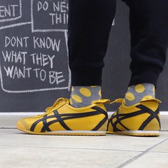 Spot on! #onitsukatiger #sneakers #killbill #shoes #asics #kicks #socks #polkadots #yellow