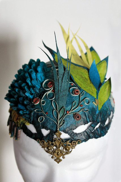 Hair Ornaments of Tissue Paper, Tattered Books, Beads and Bronze Ornament by Patricia Chemin