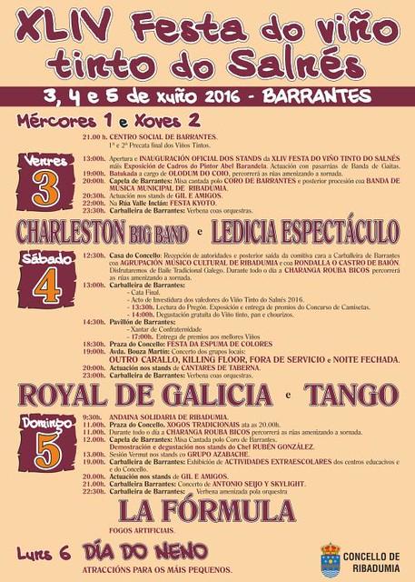 Ribadumia 2016 - XLIV Festa do Viño Tinto do Salnés en Barrantes - cartel