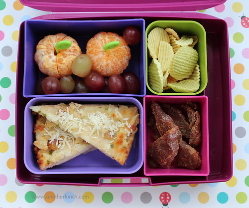 Laptop Lunches Kindergarten Lunch - chicken pizza, fruit, veggie chips, jerky
