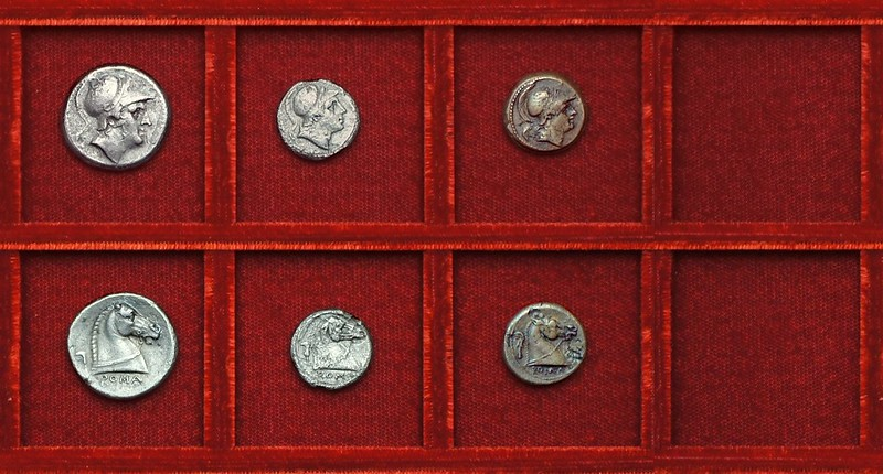 RRC 025 Sickle series, Mars horsehead, didrachm, litra, Ahala collection, coins of the Roman Republic