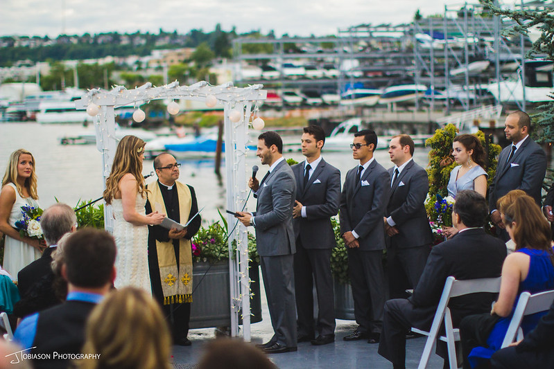 Groom gives vows at wedding