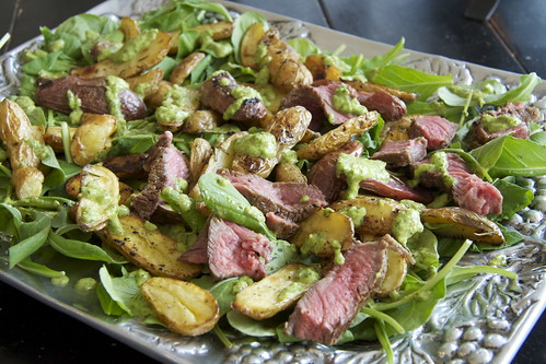 Arugula, Steak and Lemon Roasted Potato Salad