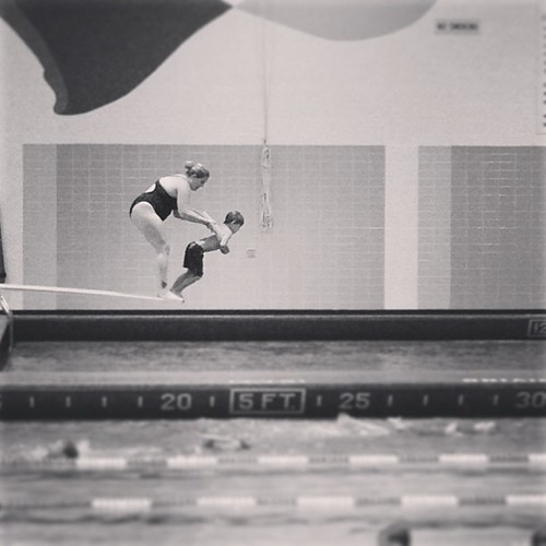 Today swimming lessons looked like tears and fear. And he swam any way.