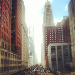 Chicago canyon #Chicago #L #cta #elevatedtrain