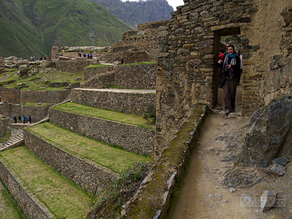 Exploring the terraces of Ollantaytambo.