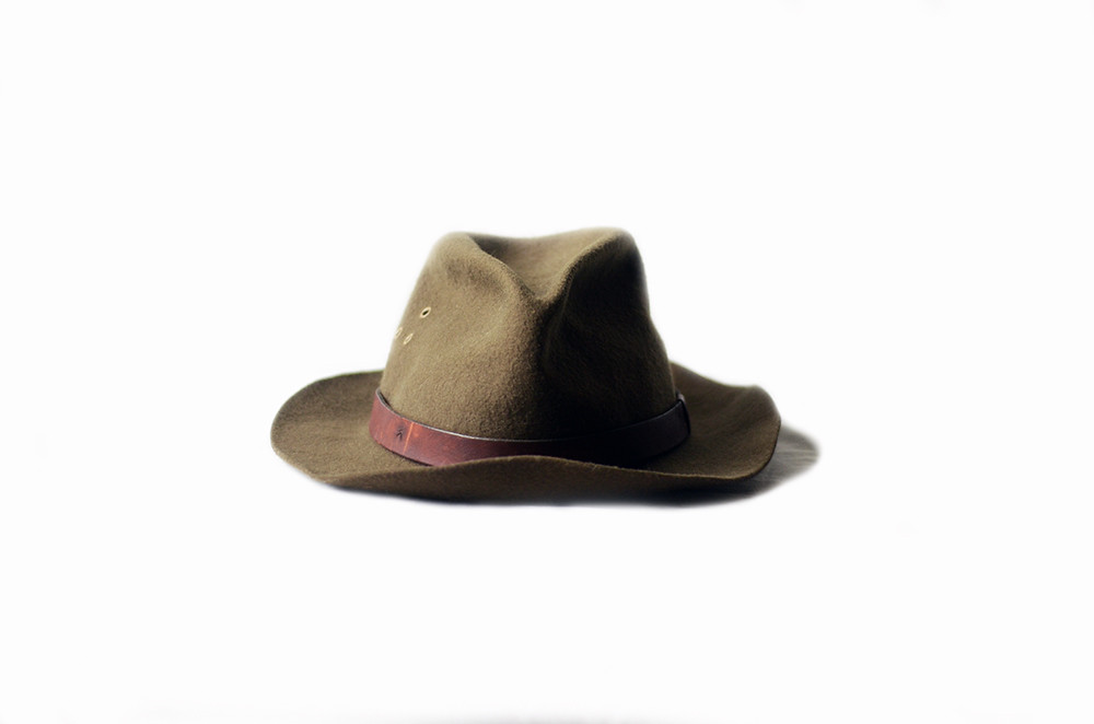 Vintage Green Felt Safari Hat
