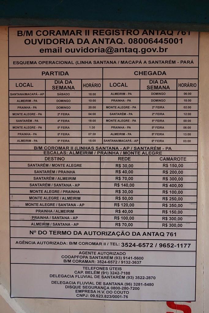 Quadro de preços e horários do Barco que liga Macapá até Santarém e Almeirim