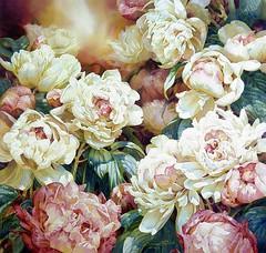 flower arranging(1.0), garden roses(1.0), cut flowers(1.0), rosa 㗠centifolia(1.0), floribunda(1.0), flower(1.0), yellow(1.0), floral design(1.0), painting(1.0), flower bouquet(1.0), floristry(1.0), peony(1.0), still life(1.0), pink(1.0), petal(1.0),