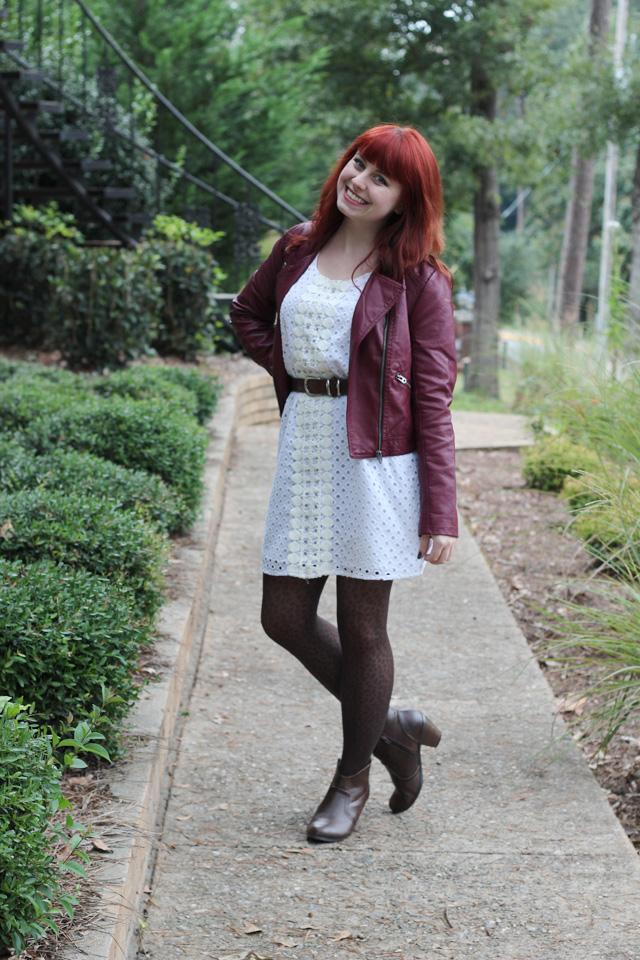 Burgundy Leather Coat, White Eyelet Shift Dress, Leopard Tights