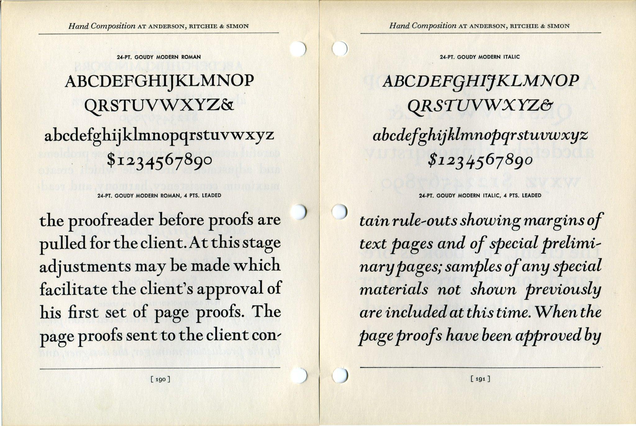 Goudy Modern Type Specimen