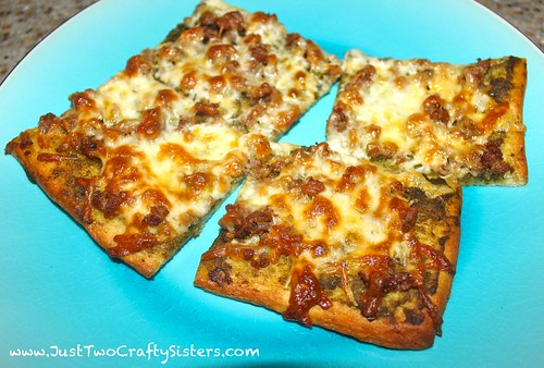 Homemade pesto sausage flatbread pizza