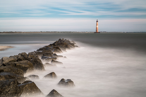 ocean longexposure lighthouse beach sunrise timelapse exposure lighthouses day cloudy southcarolina charleston filter follybeach ndfilter morrisisland morrisislandlighthouse