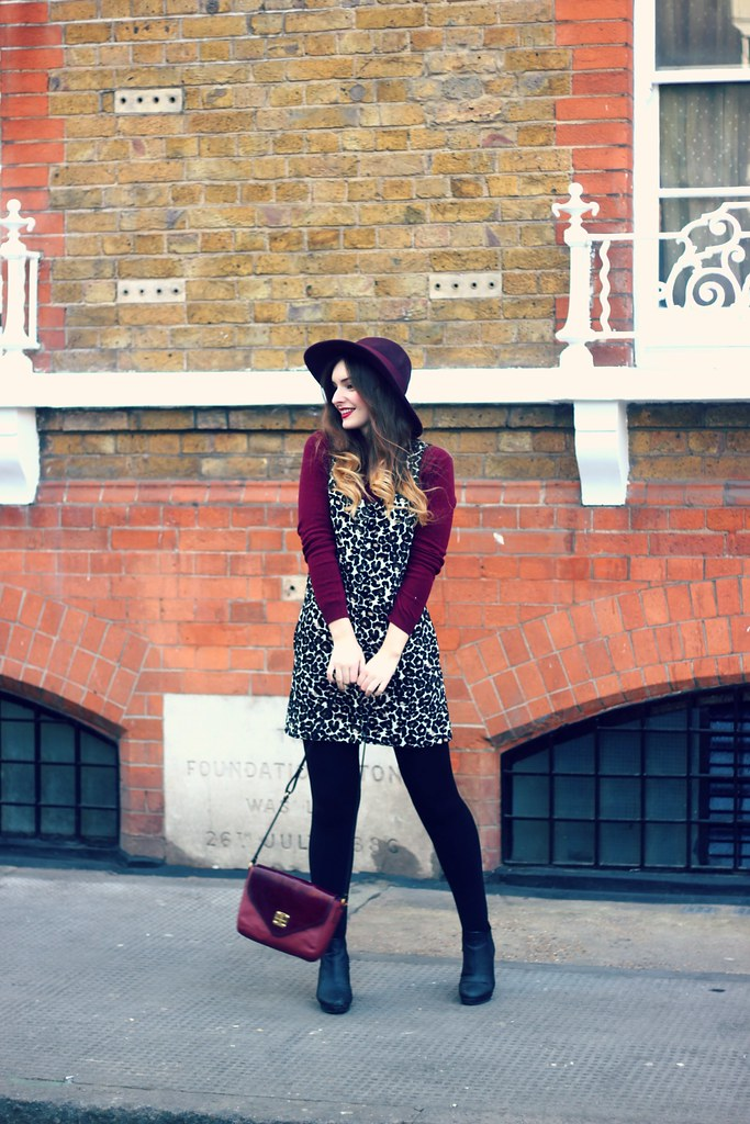 Leopard Pinafore Dress Burgundy Autumn Outfit