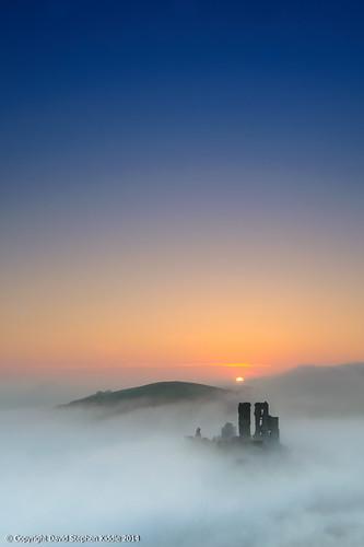 castle misty sunrise dorset corfecastle kiddle mistysunrise d700 nikond700 davidstephenkiddle davekiddle davidkiddle nikkor1635 davekiddlephotography