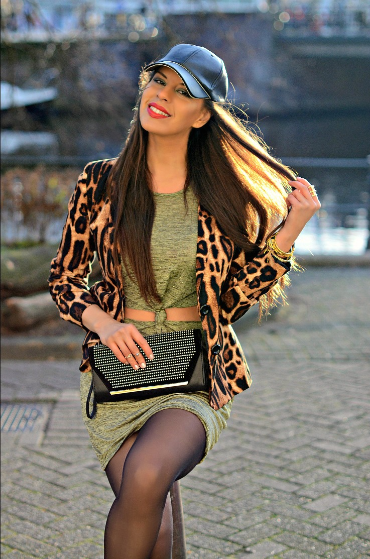 DSC_3793 Leopard blazer, Amsterdam fashion week 2014, Ready To Fish, Zara leather cap,