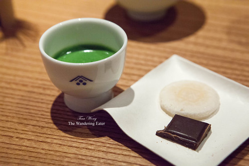 My cup of koicha (made with Seiun, an extra-premium quality matcha) served with a rice cracker and a piece of Mast Brothers chocolate