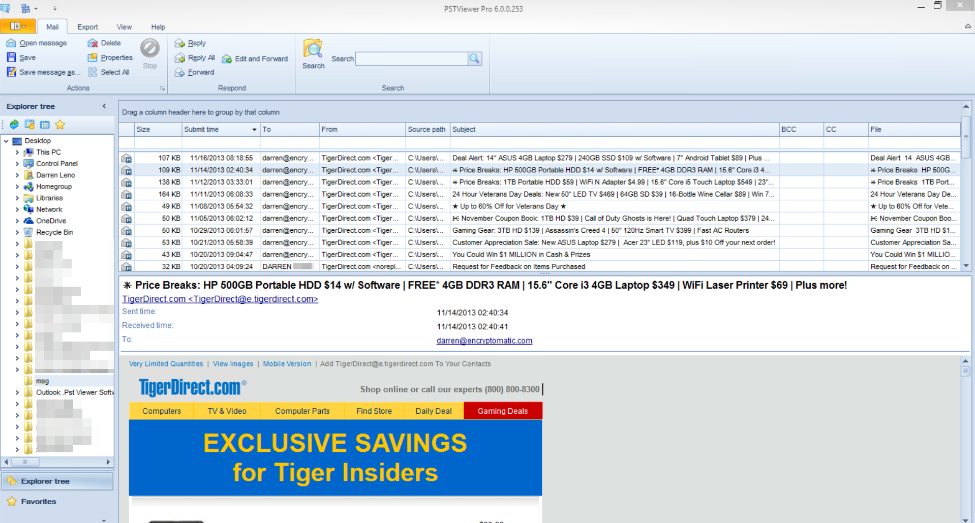 Screen shot of of the main user screen, PstViewer Pro email viewer software.