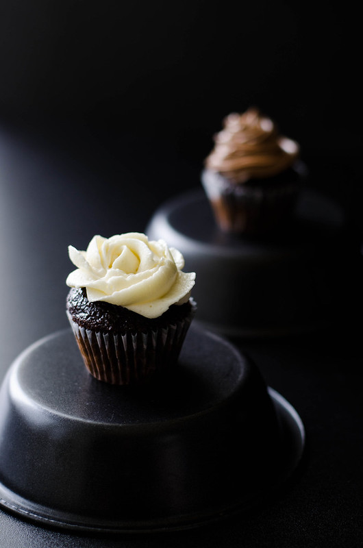 Mini Chocolate Cupcakes with Swiss Meringue Buttercream