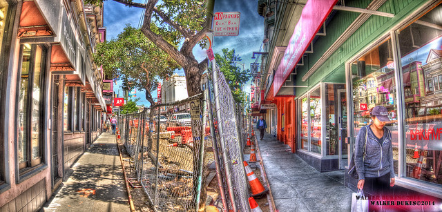 The Wicked Twin Sidewalk Gauntlets of Castro Street, HDR Montage