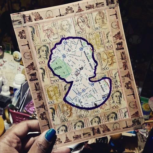 Profiling #mailartsunday #mail #mailart #snailmail #snailmailrevolution #postage #post #paris #mapart #IUOMA #briefmarken #postzegels #postcard #maskingtape