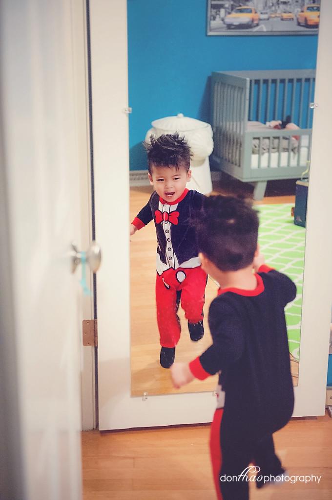 personal 365 - toddler dancing in pajamas pjs at mirror photography