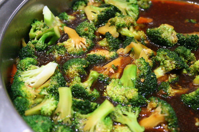 Broccoli and braised sea cucumber which I think got walloped first