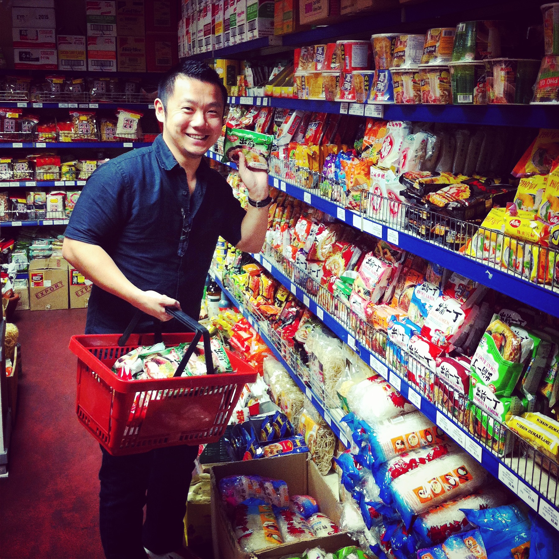 Happy Husband in the Ramen Aisle