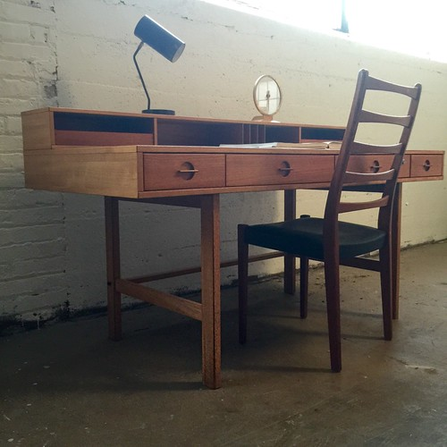 ***ON DECK***Peter Lovig Nielsen Teak Flip Top Partners Desk (Denmark, 1960s)