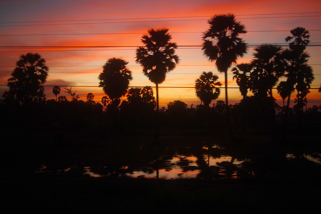 Sunset. Train from Bangkok, Thailand, to Butterworth, Malaysia
